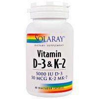 Regardez ce produit que j'ai trouvé sur iHerb. Solaray, Vitamin D-3 & K-2, 5000 UI, 60 Gélules végétales