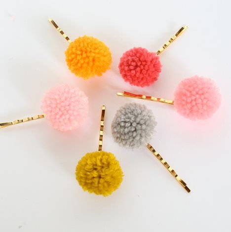 Two Gold Plated Pom Pom Bobby Pins- Set Of two