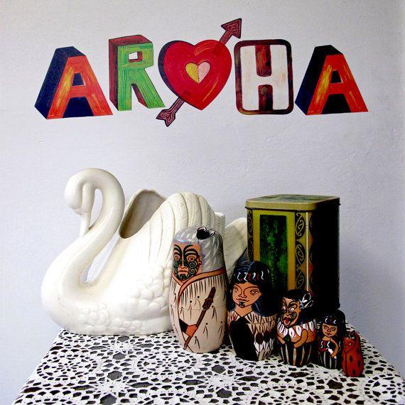 Aroha Maori word for Love reuseable fabric wall by Stickytiki, $25.00