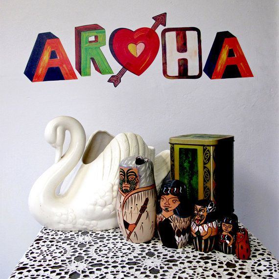 Aroha Maori word for Love reuseable fabric wall by Stickytiki, $25.00