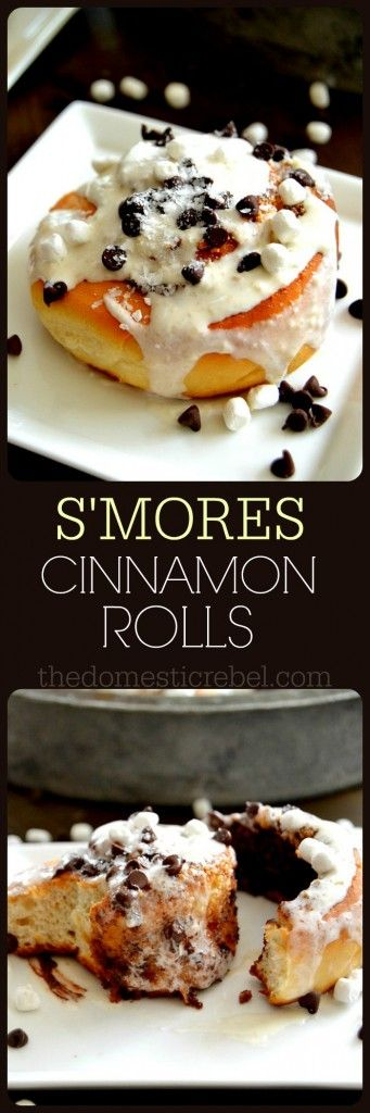 These S'mores Cinnamon Rolls are packed with gooey s'moresy flavor, rich chocolate and sticky-sweet marshmallow creme. The ultimate breakfast sweet roll!