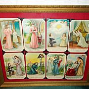 The Lord's Prayer or Our Father Group of 8 Postcards in Wood Frame