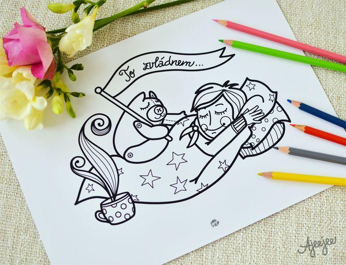 Coloring page by Ajeejee  To zvládnem... chřipka - uzdravovací omalovánka