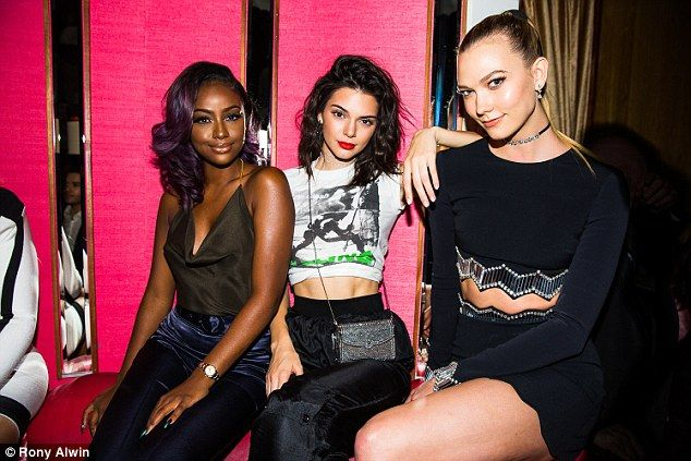 Her gal pals:The 21-year-old reality star and model arrived with her gal pals including supermodel Karlie Kloss and singer Justine Skye, an insider dished to the website