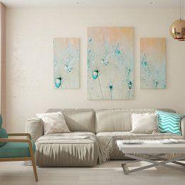 Студия LESH | Уютная гостиная в бежевом цвете с насыщенными элементами бирюзового цвета