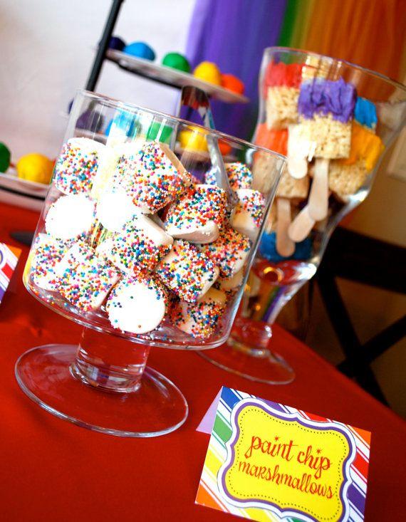 Paint brush Rice Krispie treats and marshmallows.