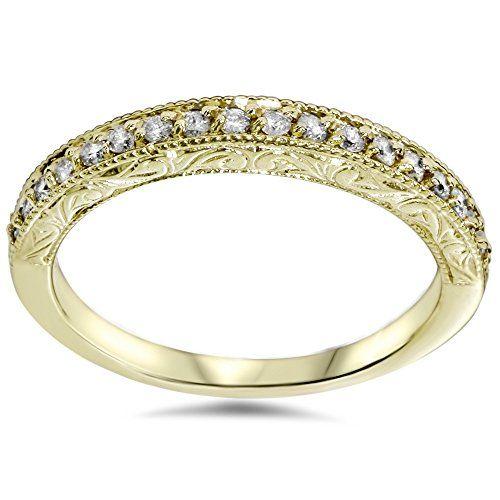 Amazon.com: 1/2CT Yellow Gold Diamond Vintage Wedding Ring 14K: Jewelry