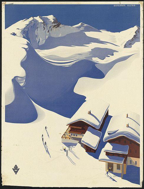 Austria. Ski lodge in the Alps by Boston Public Library, via Flickr
