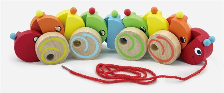 A beautiful wooden pull along worm. The worm is 30cm long and the cord is 65cm. Colourful and engaging to promote phycial activity in little ones.