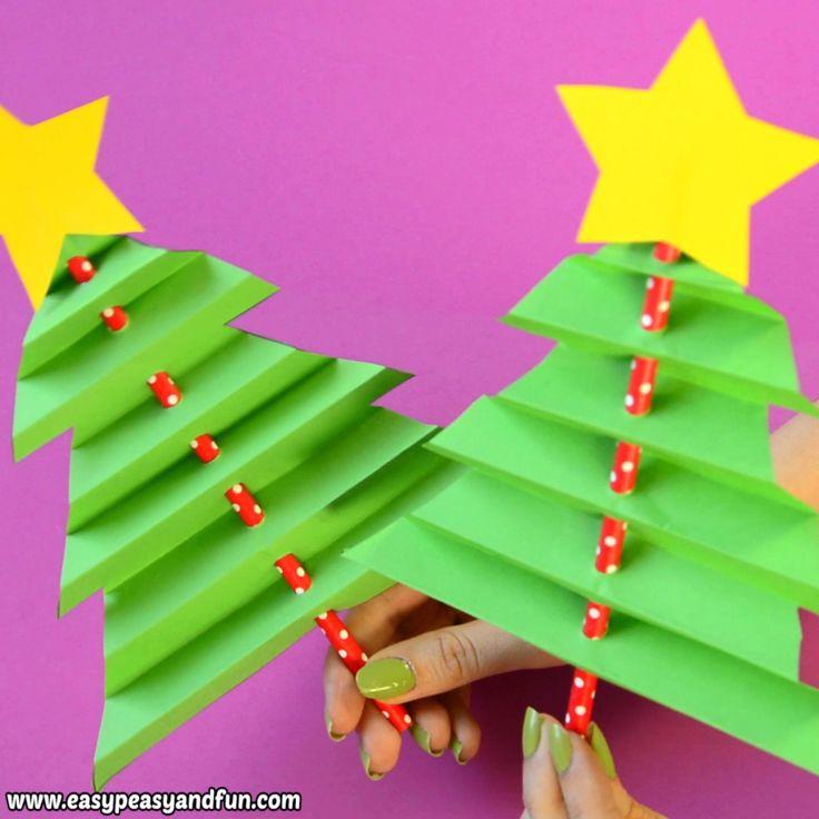 Akkordeon Papier Weihnachtsbaum Basteln für Kinder
