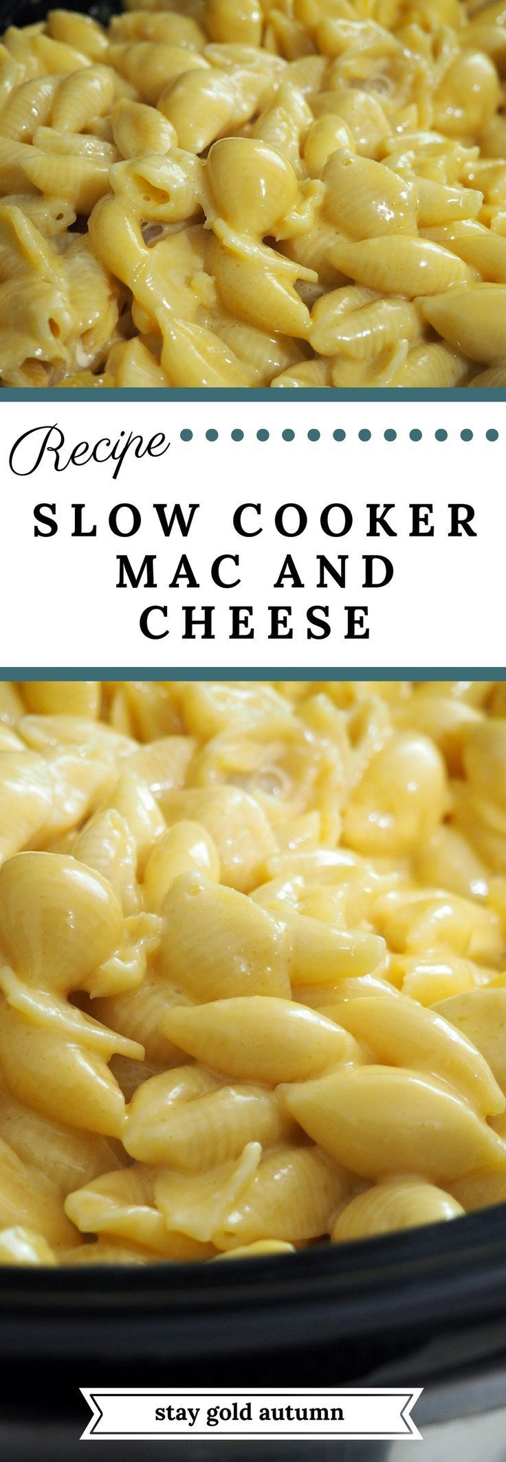 This slow cooker mac and cheese recipe is mouth watering and so easy to make! If you have two hours to spare, then this recipe is already finished! | via Stay gold Autumn