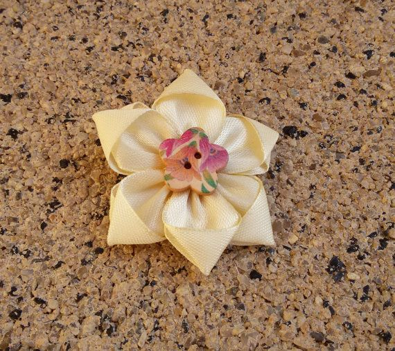 Shabby Chic brooch yellow flower brooch satin by Rocreanique on Etsy