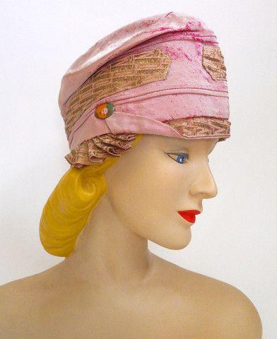 Pink Silk Cloche with Metallic Trim circa 1920s - Dorothea's Closet Vintage