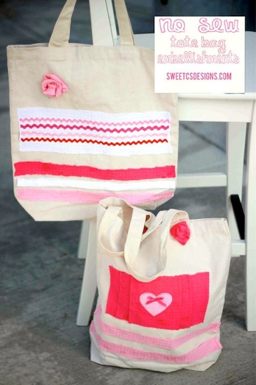 Sometimes it's a relief to leave the sewing machine in the closet - you can do that with these handmade no sew totes, assembled with Mod Podge.