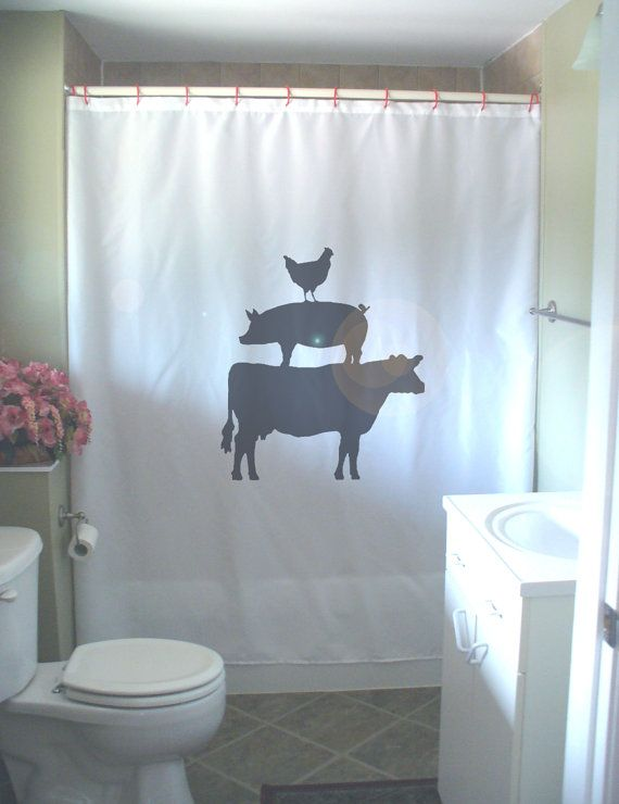 Farm Animal Pyramid Shower Curtain Chicken Pig Cow By Eternalart