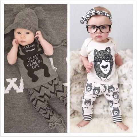 Baby Clothing Sets - Little Monsters / Bear Kurzarm 2 Piece Cotton - FREE Shipping. - MyShoppingSpot