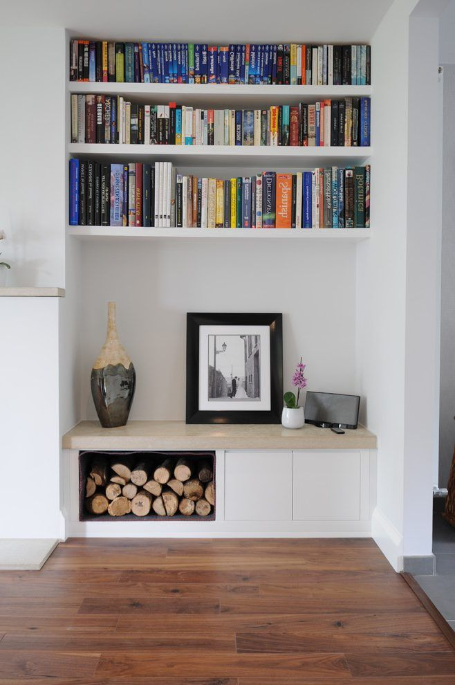 Ideas for alcoves in living rooms living room contemporary with firewood storage book shelves log storage
