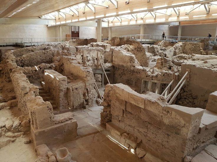Akrotiri archeological site on Santorini