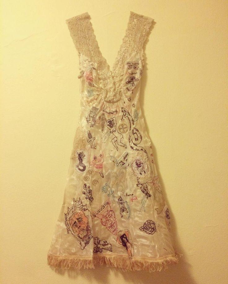 """Taxi Dancer"" embroidery on vintage slip, wax Ellen Greene 2013 @artbyellengreene #fashionasart #textileart #dressasart #embroidery #contemporaryart #contemporaryartist #feminist #tattoo #pinup #burlesque #taxidancer"