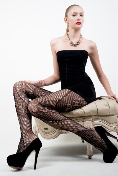 AOneBeauty.com - Killer Legs Fishnet Pantyhose - Spiral Flowers