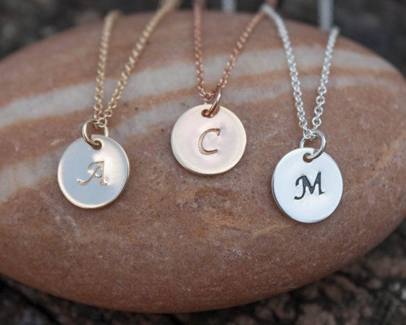 Gold Initial Disc Necklace - Personalized Jewelry, Necklaces . Monogram Jewlry . 9mm Circle Pendant . New Mom, Baby, Kids Gift