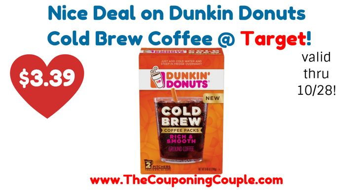 AMAZING PRICE! Regularly $9.99! Hurry to grab your coupon! Nice Deal on Dunkin Donuts Cold Brew Coffee @ Target!  Click the link below to get all of the details ► http://www.thecouponingcouple.com/nice-deal-on-dunkin-donuts-cold-brew-coffee-target/ #Coupons #Couponing #CouponCommunity  Visit us at http://www.thecouponingcouple.com for more great posts!