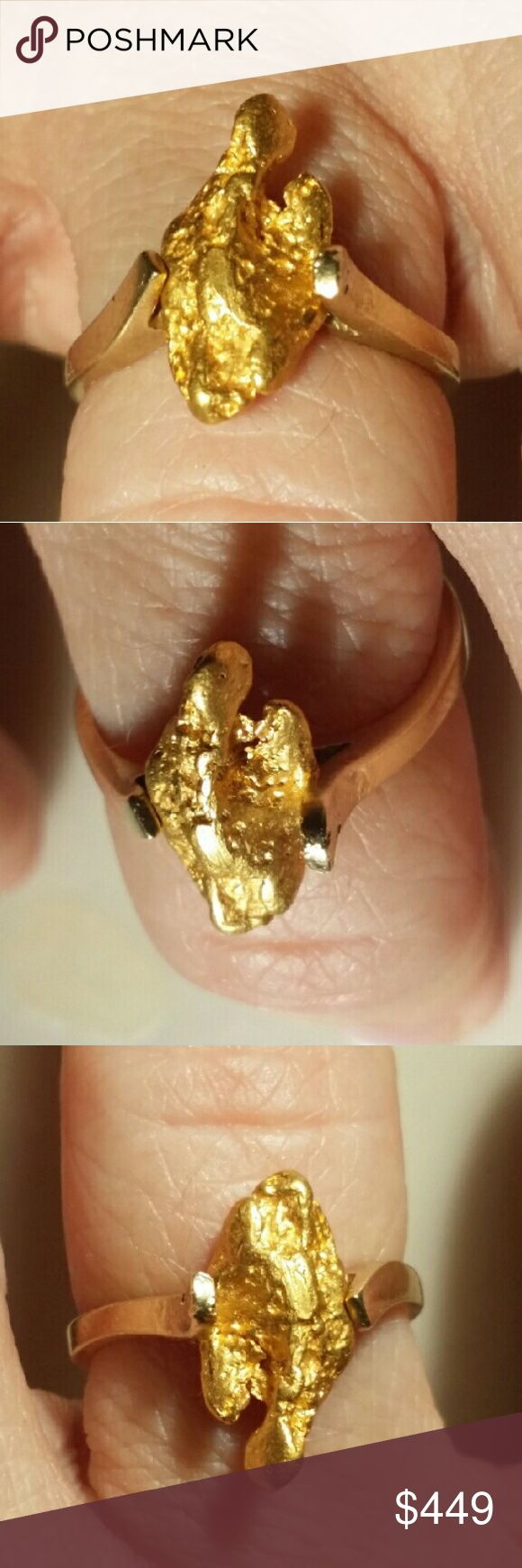 22k-24k Australian Gold Nugget Solid 14k Gold Ring 2.1 Gram Australian Natural Big Gold Nugget that I High in Purity @ 22k - 24k. Placer Gold Nugget.  1.9 gram SOLID 14k Gold ring.   Size 6 ring. This piece is used and has some wear. There is no significant damage to the ring or nugget. It is a beautiful piece and the gold is very bright. It is handmade. The gold nugget is soldered in and set into place.  The ring is a manufactured used piece.  This is definitely one of a kind.  14k is well…