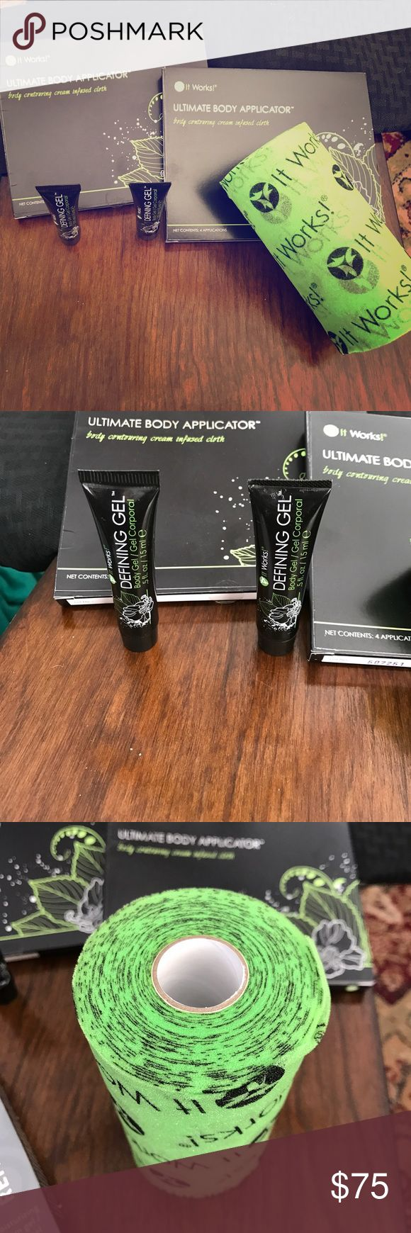 It Works! Ultimate Body Applicator Bundle, NIP It Works! Ultimate Body Applicator Bundle, NIP, 2 small tubes of Defining Gel, 82 ft of Fab Wrap, and 8 total Ultimate Body Applications. I bought these, fully intending to use them, but I got too lazy. My loss, your gain! Make your best offer! It Works! Other