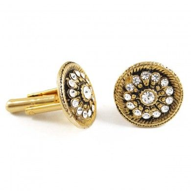 2 Pcs Gold Tone Crystal CZ Stone Cufflinks Designer Men's Suits Jewellry Set