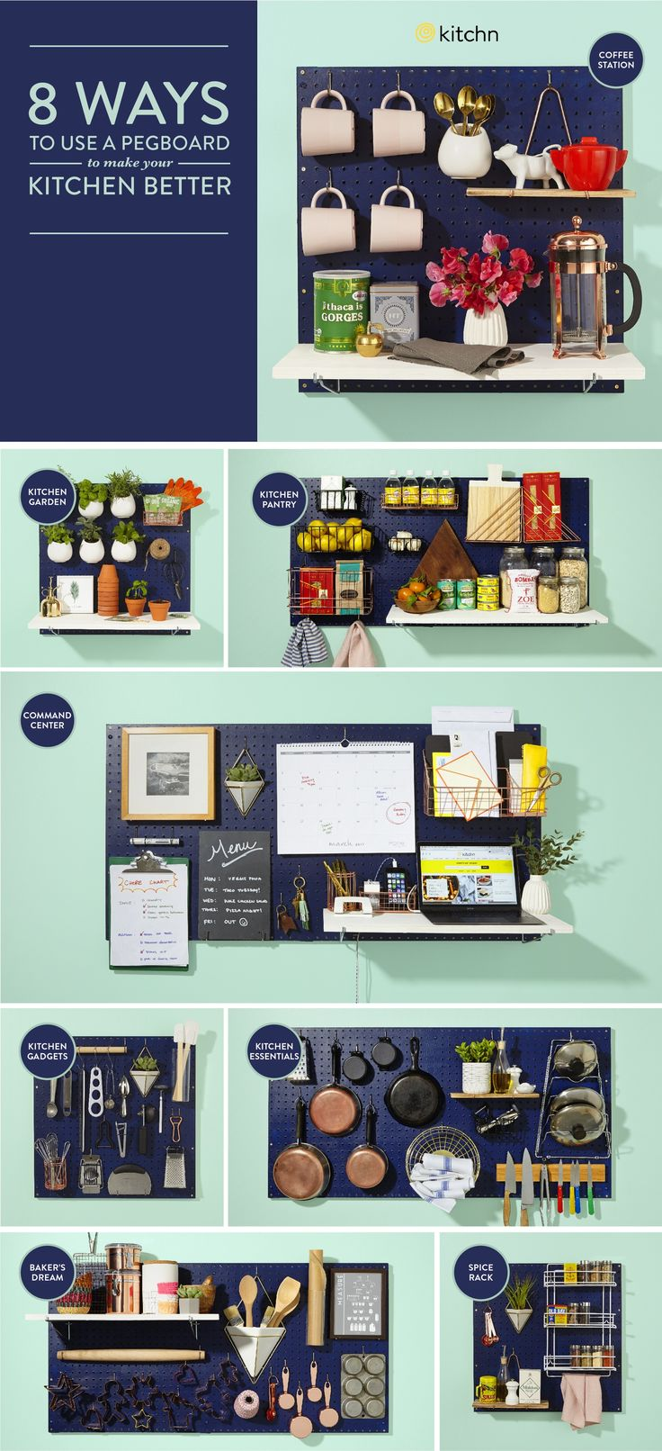 8 Ways to Use a Pegboard to Make Your Kitchen Better   Kitchen organizing ideas  home organization