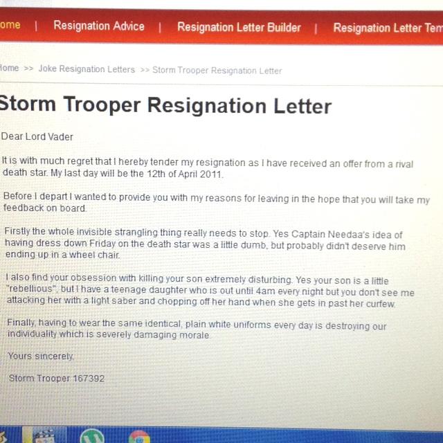 stormtrooper resignation letter production manager cv template mechanical engineer resume summary room attendant skills