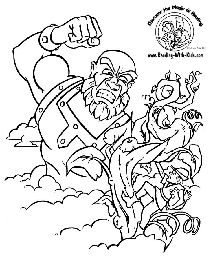 jack and the beanstalk fairy tale coloring page - Language Arts Coloring Pages