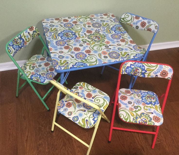I took a child's table set and covered it in raincoat fabric. Old cheap vinyl gone new fun set ready to play and easy to clean.