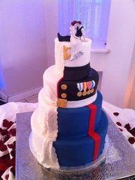 Half And Half Marines Wedding Cake