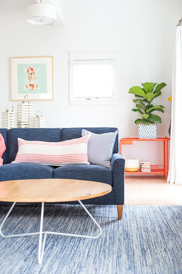 Get the look: Serene Chambray Lake House Living Room - Pencil Shavings StudioPencil Shavings Studio