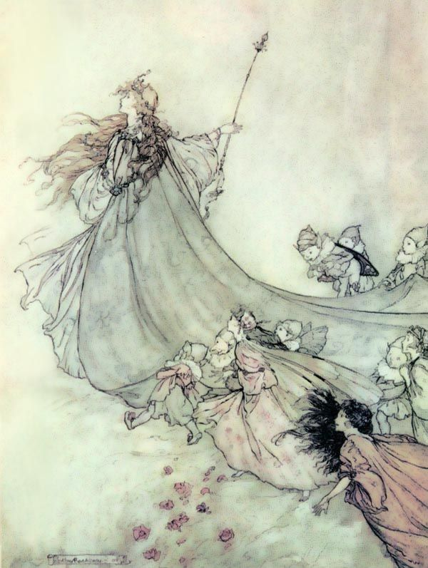 Titania, Queen of the Fairies, by Arthur Rackham.  In Shakespeare's A Midsummer Night's Dream, the queen of the fairies is named Titania. Although a Fairy Queen exists in the literature of several cultures earlier, Shakespeare is the first to call her Titania, a name after the titans of Greek Mythology.