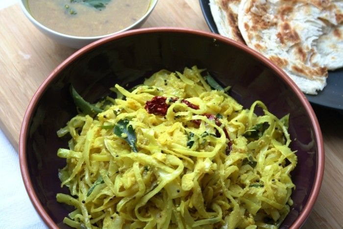 Keralan Cabbage Thoran : Southern Indian Cabbage with Coconut, Curry Leaves and Chilli ~ by Maunika Gowardhan