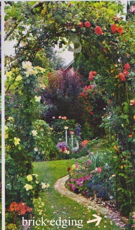 Beautiful garden and brick edging
