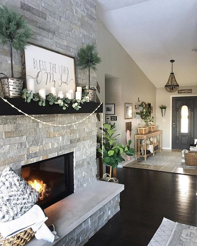 Stone Fireplace Mantel Decorations Modern Farmhouse Decor Farmhouse Mantle Decor Fireplace Mantle Decor Farmhouse Fireplace Mantels #stone #fireplace #in #living #room