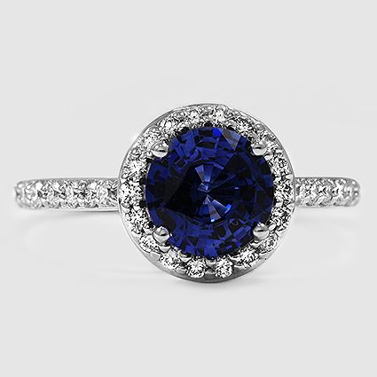 18K White Gold Sapphire Halo Diamond Ring with Side Stones // Set with a 7mm Blu…