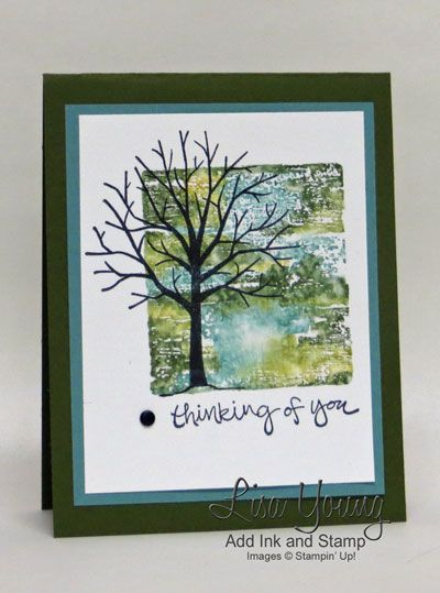 """By Lisa Young, Stampin' Up! """"Sheltering Tree"""" stamp set, Block Stamping ..."""