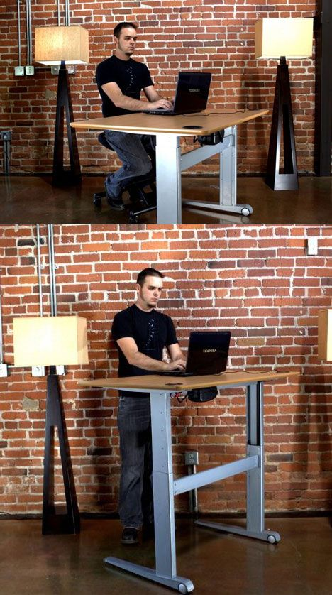 The GeekDesk is a simple and extremely sturdy desk with steel legs, a beech veneer top, and a tiny, barely visible (but powerful) DC motor. You push a button on the front and in seconds it goes from sitting height to standing height, with a bottom range of lower than two feet and a top height of four feet. #standingdesk