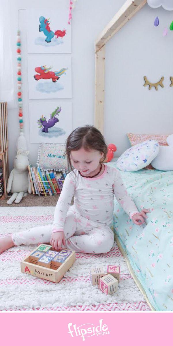 Flipside Prints | Colorful unicorn wall art for girls bedroom or nursery