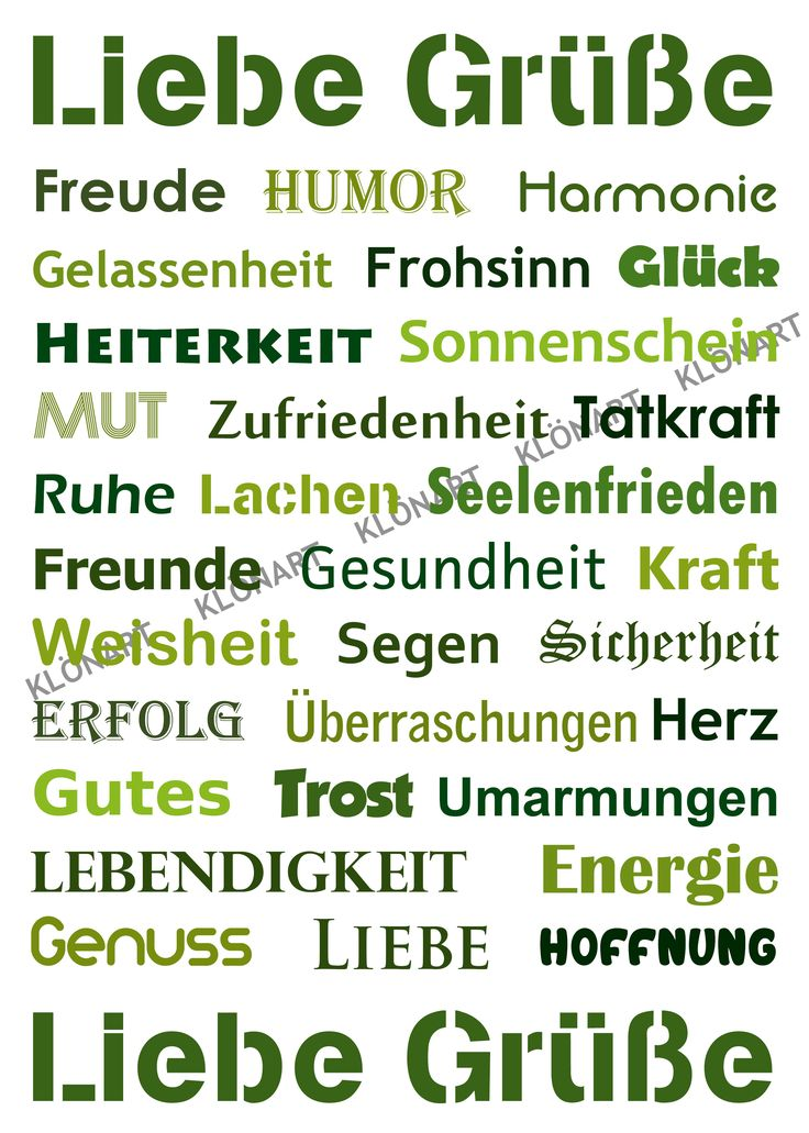 KLÖNART - Kartenkunst und mehr Postkarte  Buchstaben + Worte LIEBE GRÜßE www.kloenart.de kontakt@kloenart.de www.facebook.com/kloenar