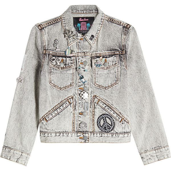 Marc Jacobs Embellished Denim Jacket featuring polyvore women's fashion clothing outerwear jackets grey grey jacket bleached denim jacket denim jackets jean jacket gray jacket