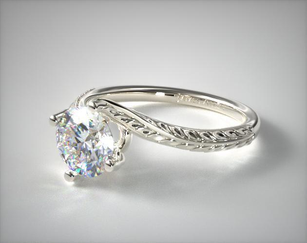 59742 engagement rings, vintage, 14k white gold engraved swirl engagement ring item - Mobile