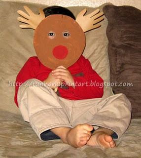 Paper Plate Handprint Rudolf Mask for Kids