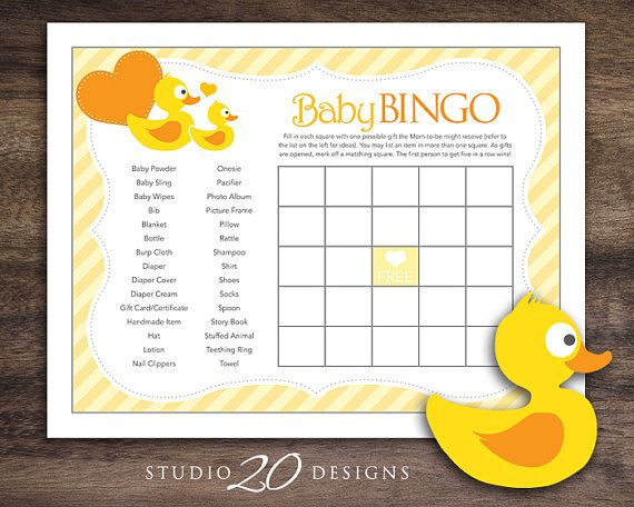 """Rubber Duck Baby Shower Bingo by Studio20Designs. Instant.  This Rubber Duck Baby Bingo game is 8.5""""x11"""". TO PLAY: Guests fill in each empty square with one possible gift the Mom-to-be might receive (there is a small list provided to help spark ideas). As gifts are opened they mark off matching squares. The first player to get five in a row wins!"""