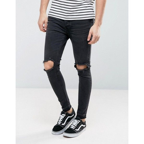 Brave Soul Skinny Knee Ripped Jean with Raw Edge ($45) ❤ liked on Polyvore featuring men's fashion, men's clothing, men's jeans, black, mens super skinny ripped jeans, mens distressed jeans, mens distressed skinny jeans, mens ripped skinny jeans and mens destroyed jeans