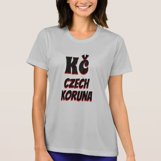The symbol for Czech koruna (Kč) with black and red color and with the word Czech koruna under it, the currency of Czechia. This grey colored T-Shirt can be customized to give it you own unique look.